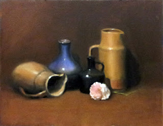 Oil painting of a pink plastic peony with two large earthenware jugs and two vases.