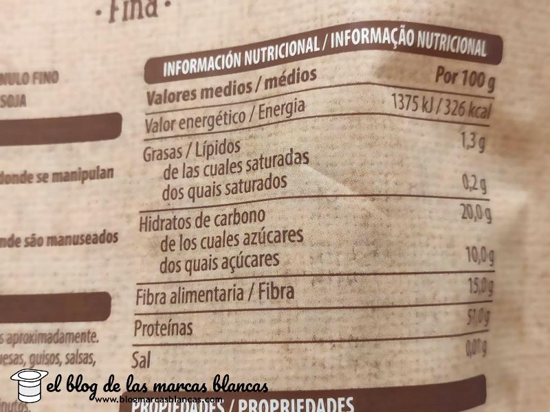 Información nutricional de la proteína de soja texturizada de grano fino Hacendado de Mercadona en el blog de las marcas blancas.