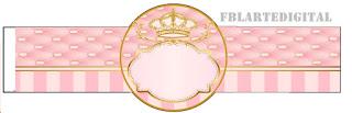 Corona Dorada en Fondo Rosa: Imprimibles Gratis para Fiestas.