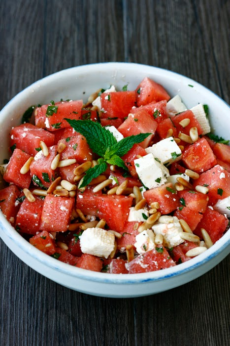 sommersalat wassermelone feta transglobal pan party. Black Bedroom Furniture Sets. Home Design Ideas