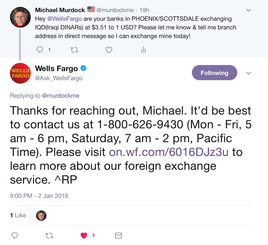The Link In Their Response Leads To This Page Https Www Wellsfargo Foreign Exchange