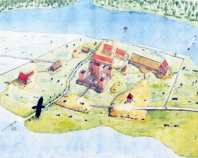 Gurre Slot rekonstruktion, tegning af Jesper Lassen