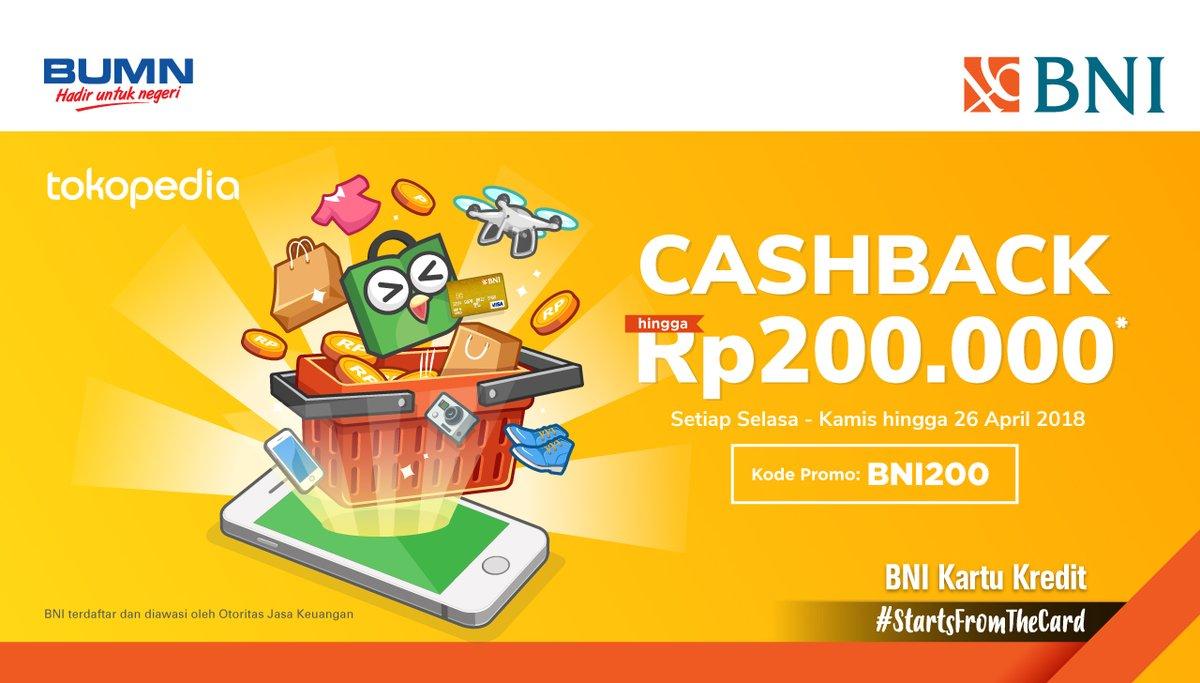 Bank Bni Kupon Cashback Tokopedia S D 200 Ribu 17 26 April 2018 Promosi247 Promosi Katalog Dan Diskon Tokopedia Superindo Indomaret Giant Ovo Gopay Dll