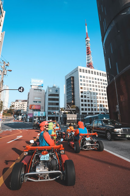 Driving Go-Karts in Tokyo Dressed as Mario and Luigi