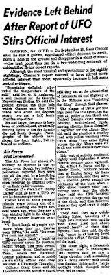 Evidence Left Behind After Report of UFO Stirs Official Interest - Arkansas Gazette 9-16-1973