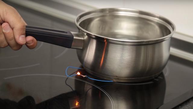 experimento, encender, diodo, led, placa, induccion