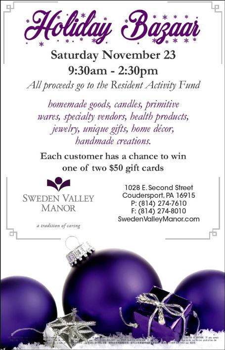 11-23 Holiday Bazaar, Sweden Valley Manor, Coudersport