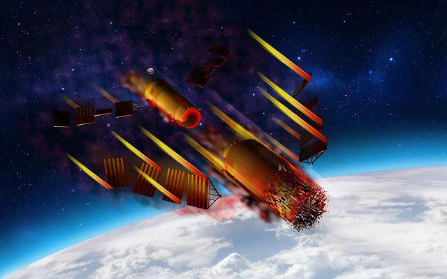 Đồ họa mô phỏng Trạm Không gian Thiên Cung 1 bị vỡ thành nhiều mảnh rồi bốc cháy khi tái nhập vào khí quyển Trái Đất. Hình ảnh: Alejandro Miranda/Alamy.