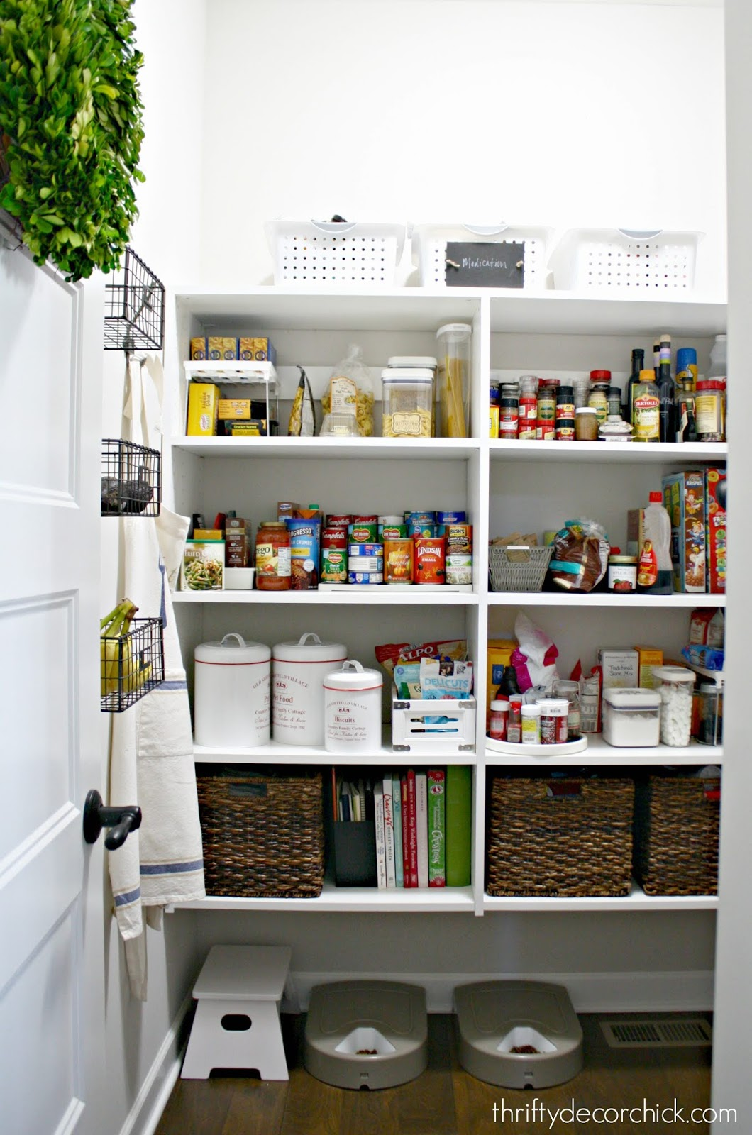 white shelves in pantry
