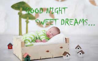 Good Night Sweet Dreams with Cute Baby Sleeping Image