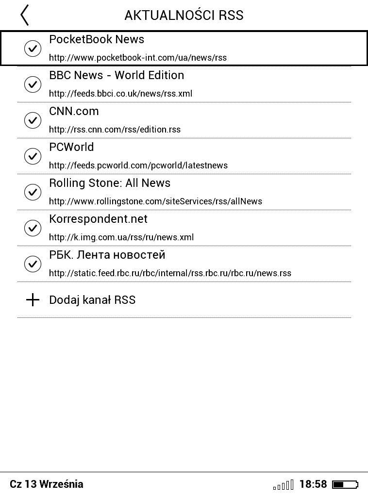 PocketBook Basic Lux 2 – lista dodanych kanałów RSS