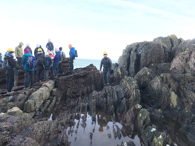 Joe visiting Hutton's Unconformity at Siccar Point during the 