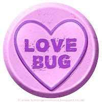 Love Bug text on Love Heart sweet free image for texting