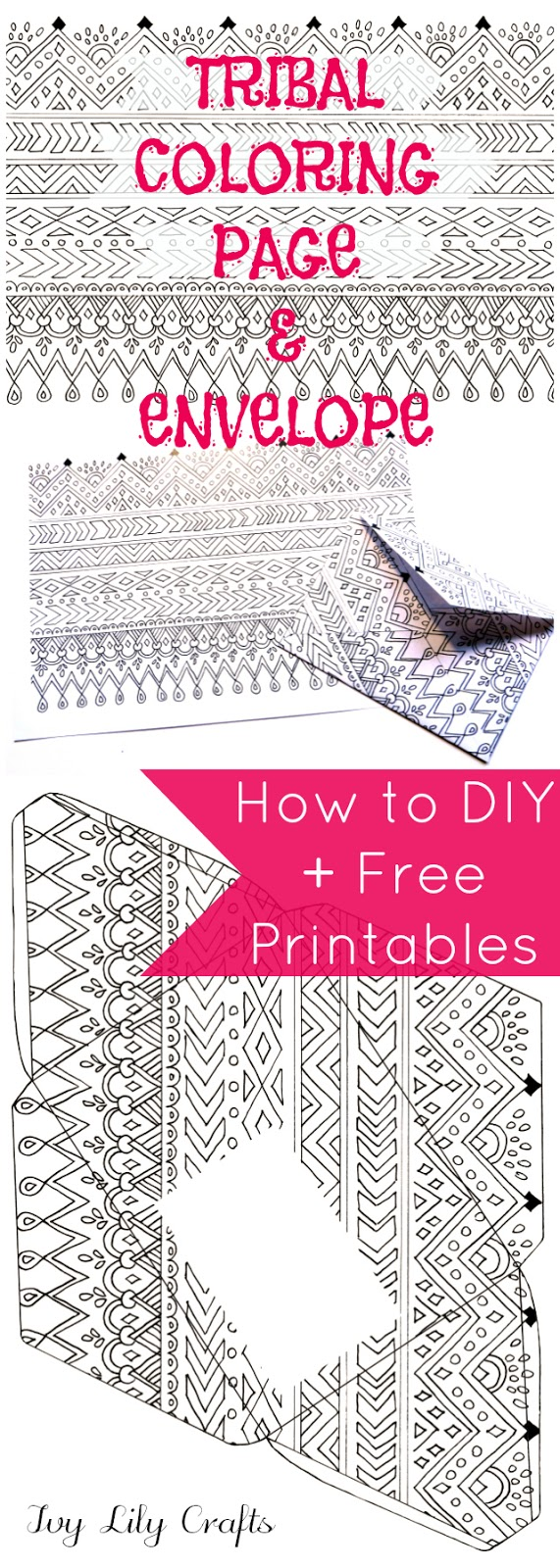 Tribal Coloring Book Page and Envelope. Free Printables + How to DIY (Video).