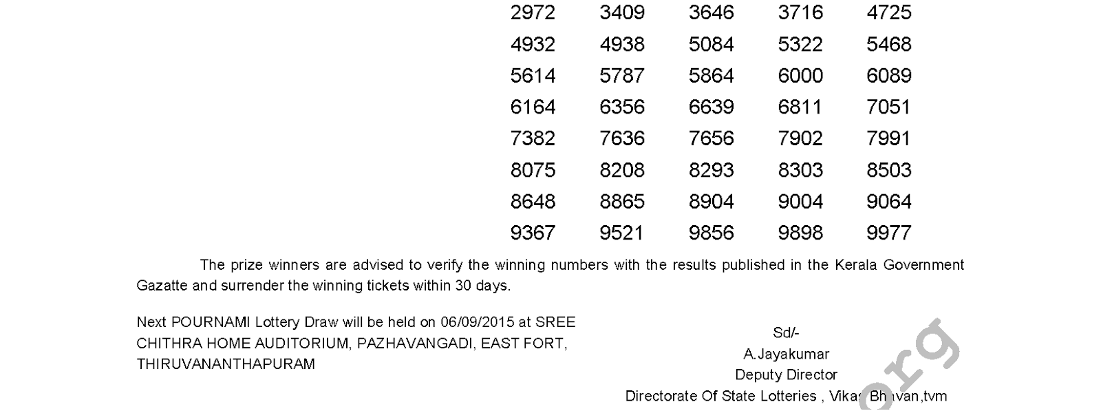 POURNAMI Lottery RN 200 Result 30-8-2015