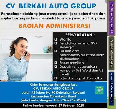 Info Lowongan Kerja  CV.BERKAH AUTO GROUP di Purwokerto Februari 2020