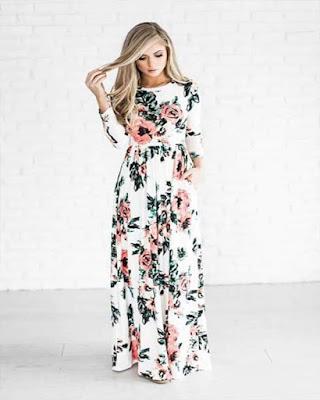 vestido blanco con estampado floral tumblr