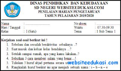Soal PH Kelas 1 Tema 1 Kurikulum 2013 Tahun 2019/2020