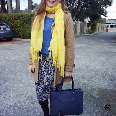 awayfromblue instagram blue and yellow bright cheerful winter office outfit love quotes scarf medium MAB tote bag