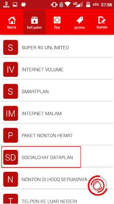 Selanjutnya pilih SOCIALCHAT DATAPLAN di aplikasi MySmartfren nya tadi