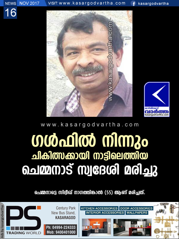 Kerala, News, Obituary, Siddeeq Nagathinkal, Death, Gulf, Chemanad, Pariyaram Medical College, Siddeeq Nagathinkal passed away, Kasargod.