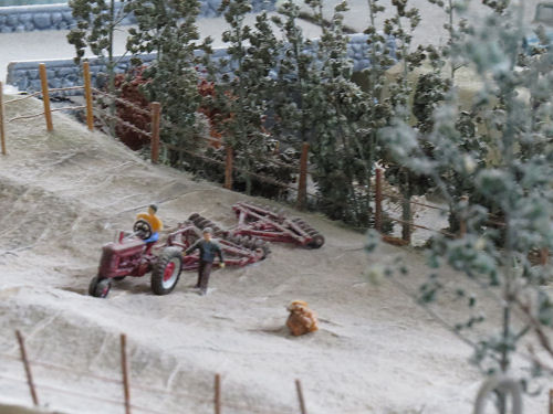 model railroad field and tractor
