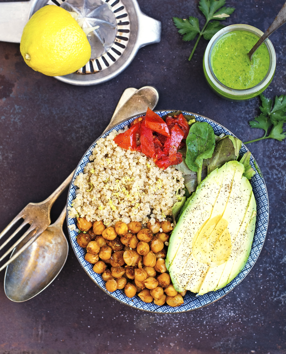 (Vegan) Buddha Bowl with Lemon Parsley Dressing