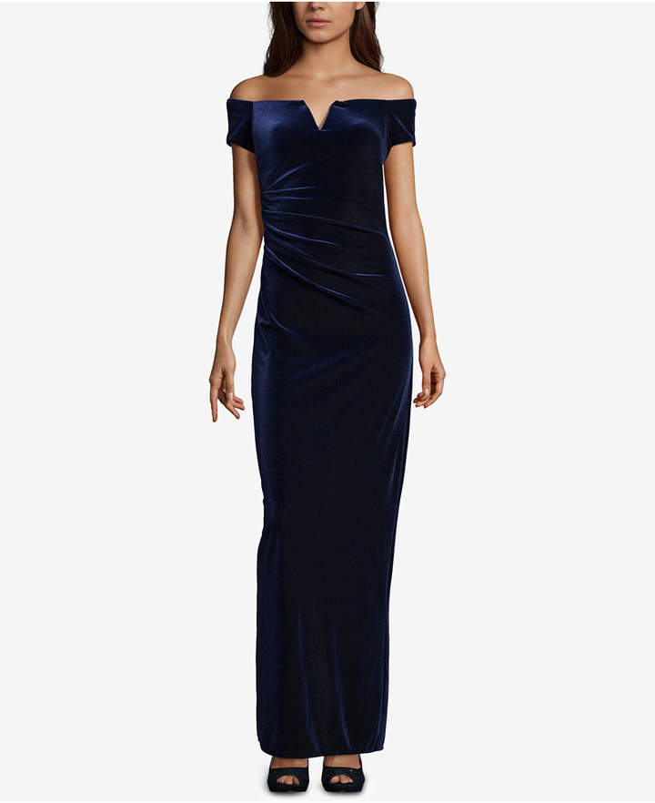 Xscape Velvet Off-The-Shoulder Gown