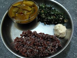 Maappillai Samba Rice, Drumstick Brinjal Chickpeas curry, Ponnaanganni Greens poriyal, Coconut Chutney
