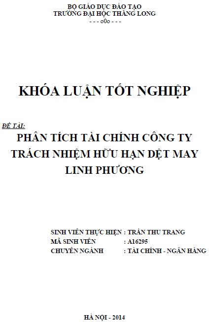 Phân tích tài chính Công ty trách nhiệm hữu hạn dệt may Linh Phương