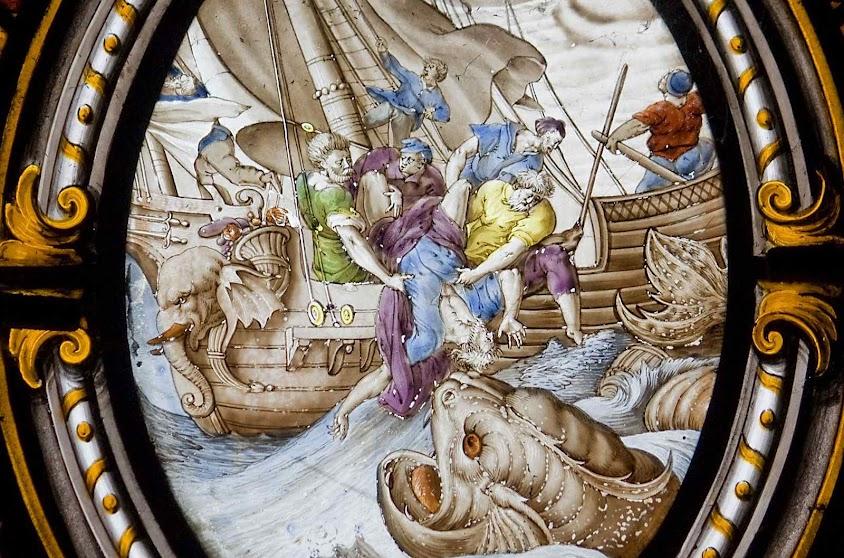 Marinheiros jogam o profeta Jonaás ao mar, igreja paroquial de Preston-on-Stour.