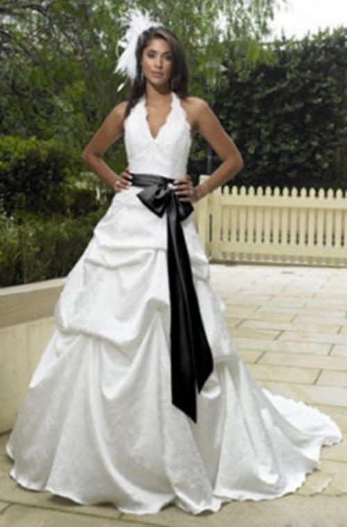 White Wedding Dresses With Black Sash