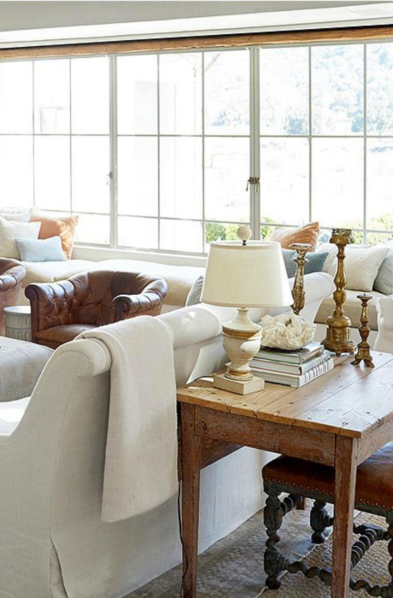 Decor Inspiration: Steel windows in #PatinaFarm #modernfarmhouse style living room by #BrookeGiannetti