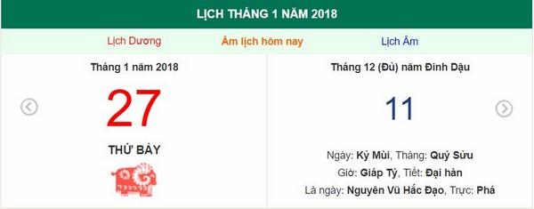 Xem ngày tốt xấu, giờ hoàng đạo - Xem lịch Thứ bảy ngày 27 tháng 1 năm 2018