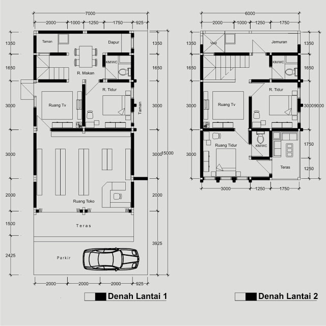 Image Result For Gambar Denah Rumah Toko Minimalis Lantai