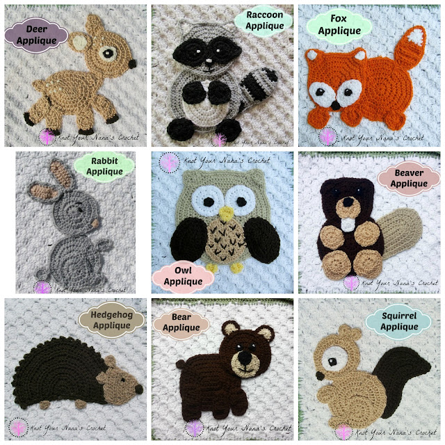 Knot Your Nana S Crochet Woodland Themed Crochet Applique Set