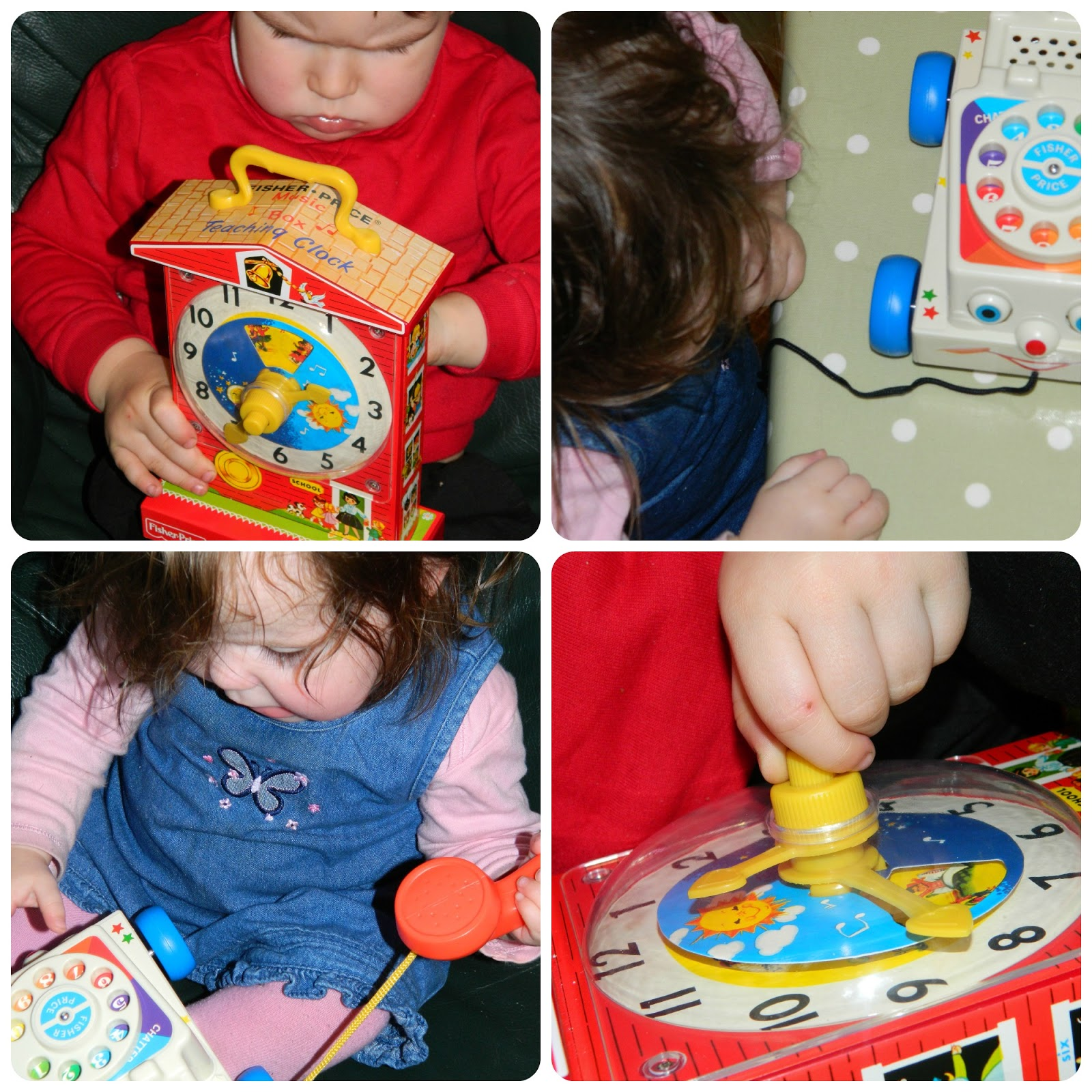 Bud and Little Miss playing with the Fisher-Price Retro Classics Chatter Telephone and Music Box Teaching Clock