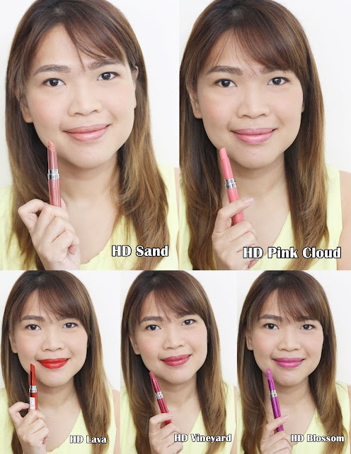 a photo of askmewhats wearing Revlon Ultra HD Gel Lip Colors L-R HD Sand, HD Pink Cloud, HD Lava, HD Vineyard and HD Blossom review