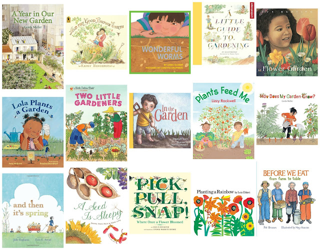 Montessori friendly gardening books for children - books we've used to spark interest and joy in gardening with kids