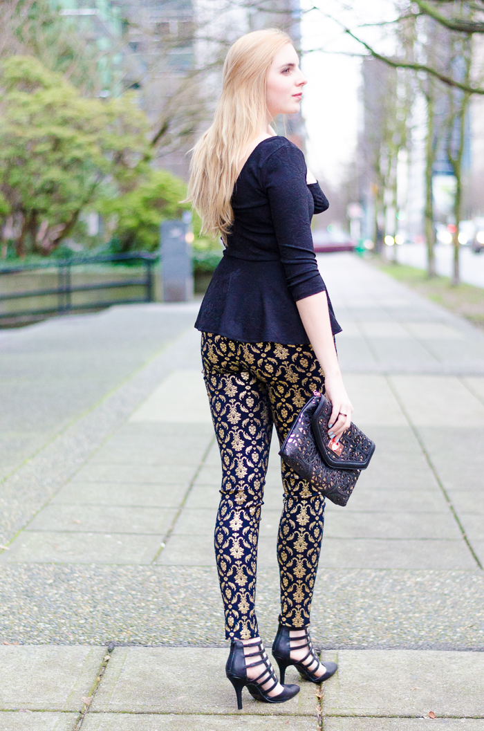 the urban umbrella style blog, vancouver style blog, vancouver fashion blog, vancouver lifestyle blog, vancouver health blog, vancouver fitness blog, vancouver travel blog, canadian fashion blog, canadian style blog, canadian lifestyle blog, canadian health blog, canadian fitness blog, canadian travel blog, bree aylwin, forever 21 embroidered peplum blouse, baroque peplum, gold printed pants, baroque print jeans,  material girl pants, what to wear on new years eve, new years eve style, new years eve outfit idea, best new years eve fashion, what to wear to a Christmas party, festive outfit ideas, cage high heels, trendy heels, best fashion blogs, best style blogs, best lifestyle blogs, best fitness blogs, best health blogs, best travel blogs, top fashion blogs, top style blogs, top lifestyle blogs, top fitness blogs, top health blogs, top travel blogs