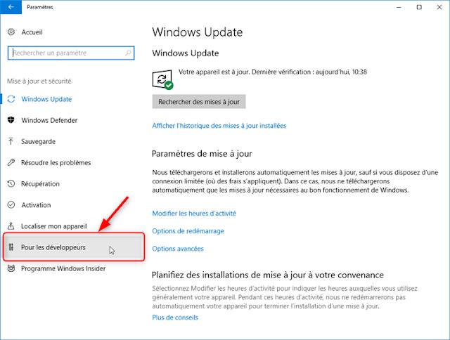 Windows 10 - Paramètres de windows pour les développeurs