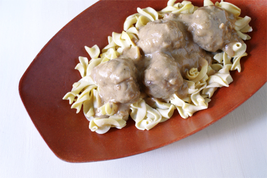 Swedish Meatballs Over Buttered Egg Noodles