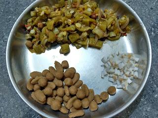 Sorghum mini dumplings,  Snake gourd Ridge gourd curry