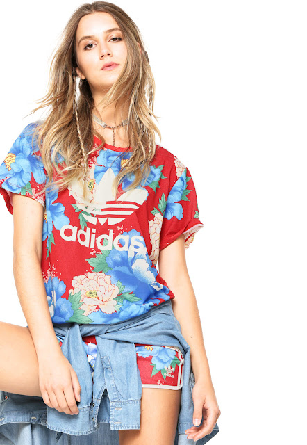 Camiseta adidas Originals FARM Chita Oriental Vermelha/Azul