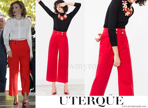 Queen Letizia wore Uterqüe Button Culottes