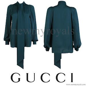 Queen Maxima Wore Gucci Green Silk Shirt