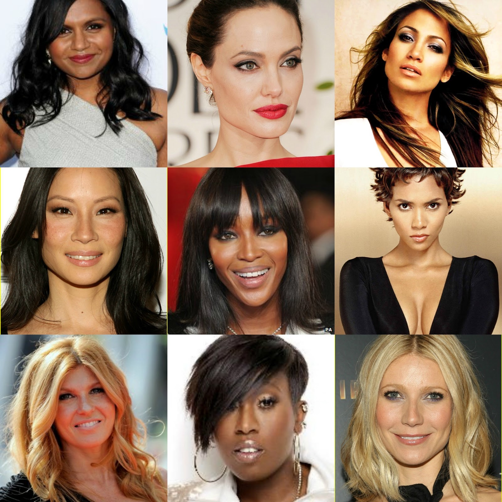 Mindy Kaling, Gwyneth Paltrow, Connie Britton, Naomi Campbell, Halle Berry, Angelina Jolie, Jennifer Lopez & Missy Elliot, Make-Up for different skin tones