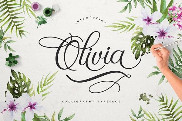 Brush font terbaik 2017 - Olivia – Free Brush Font