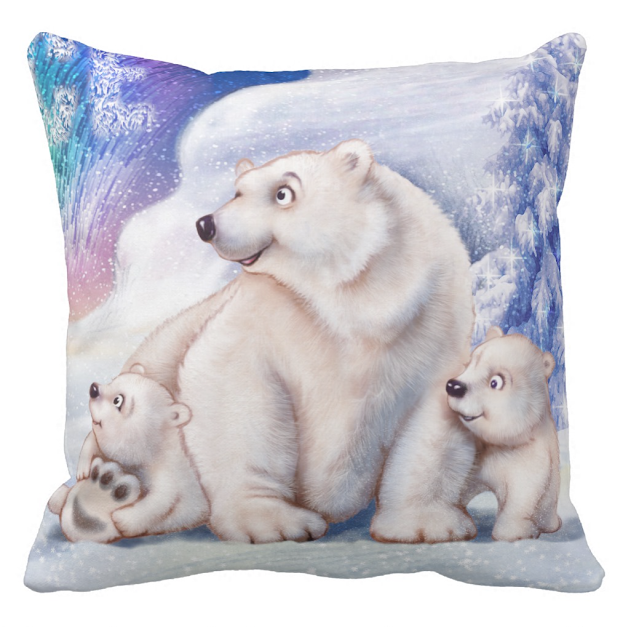 Image of cushion for sale with polar bear and cubs