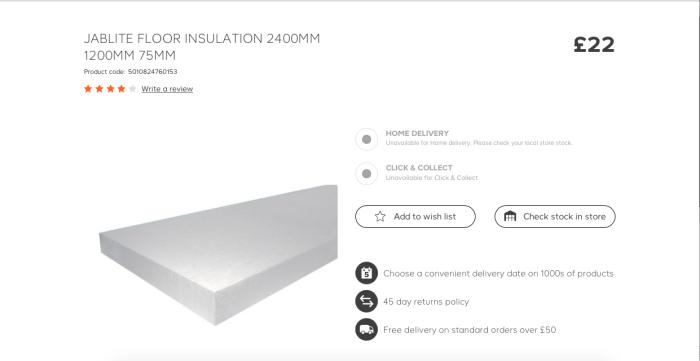 Скриншот страницы сайта с ценой пенопластовых панелей